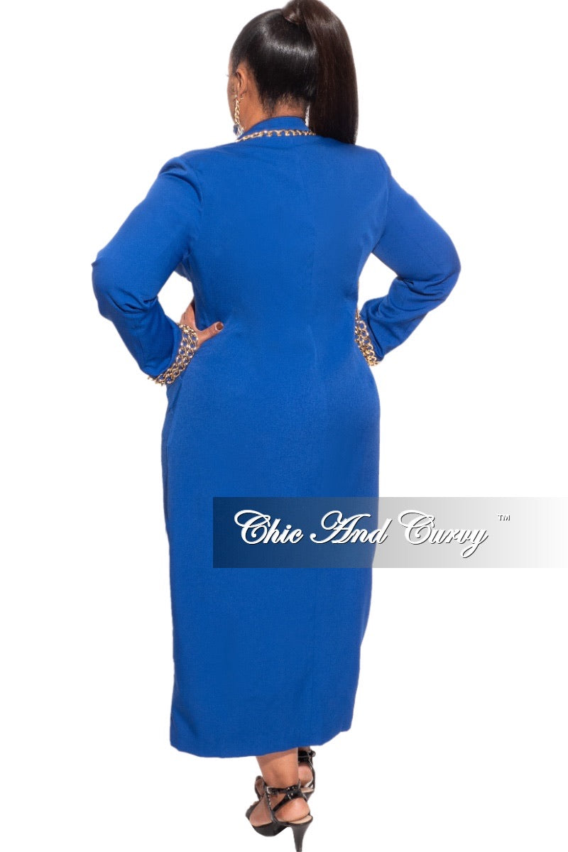 Final Sale Plus Size Coat in Blue with Gold Chain Lining