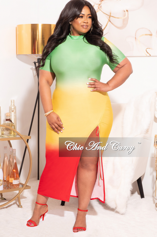 Final Sale Plus Size Dress with High Slit in Green, Yellow, and Red
