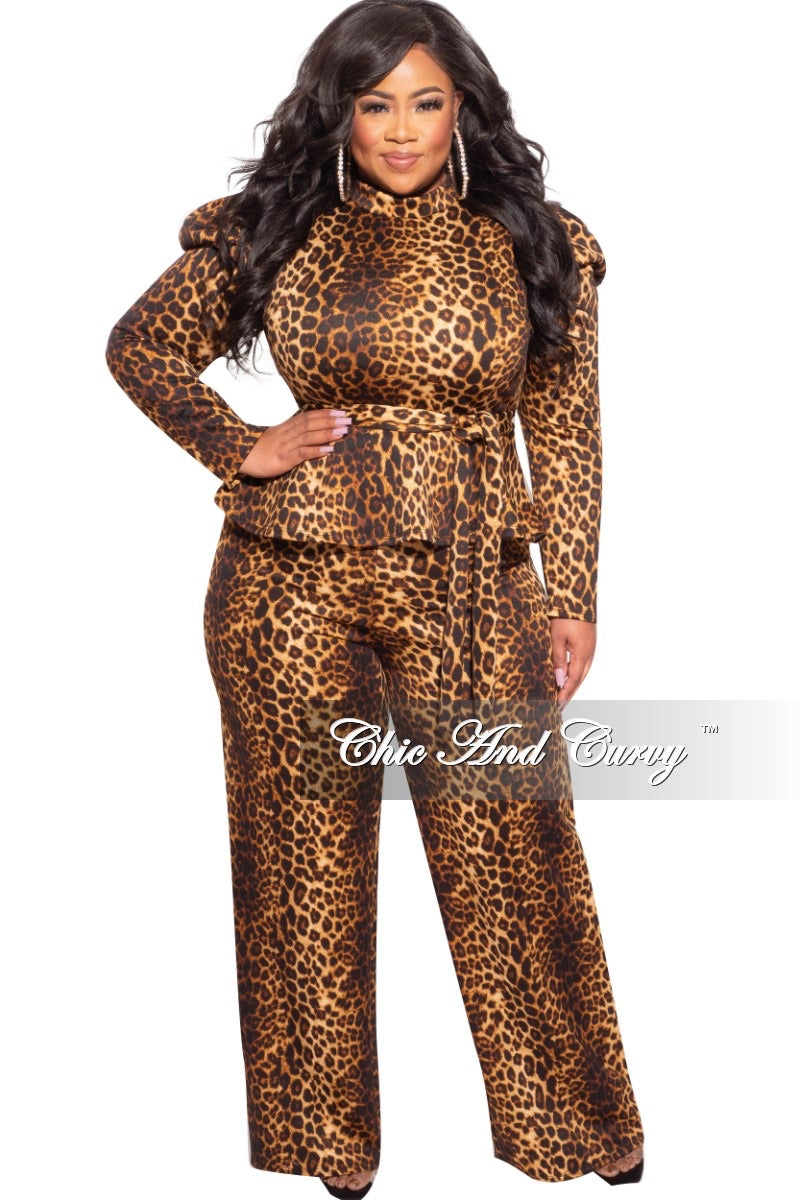 Final Sale Plus Size 2-Pc Peplum Pants Set in Dark Cheetah Print