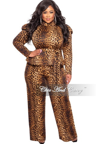 *Final Sale Plus Size 2-pc Pants Set in Burgundy & Animal Print