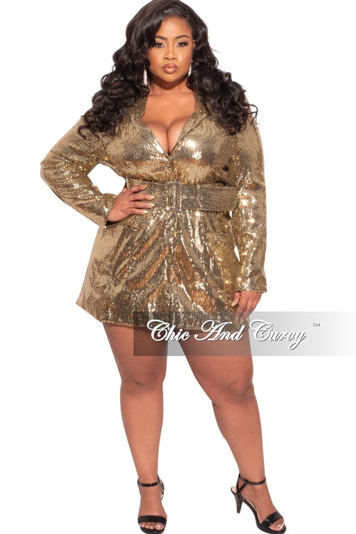 Final Sale Plus Size Sequin Blazer / Mini Dress in Gold