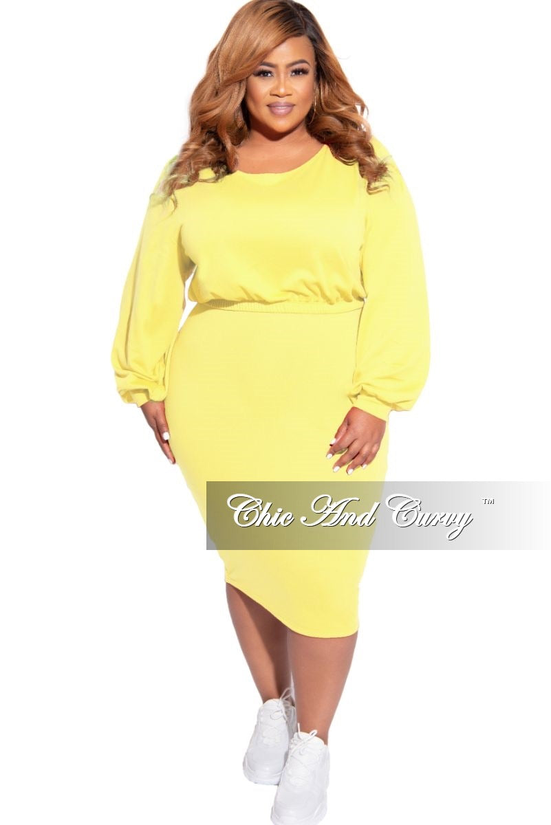 New Plus Size Exclusive 2-Piece Set Long Sleeve Top and High Waist Pencil Skirt in Bright Yellow