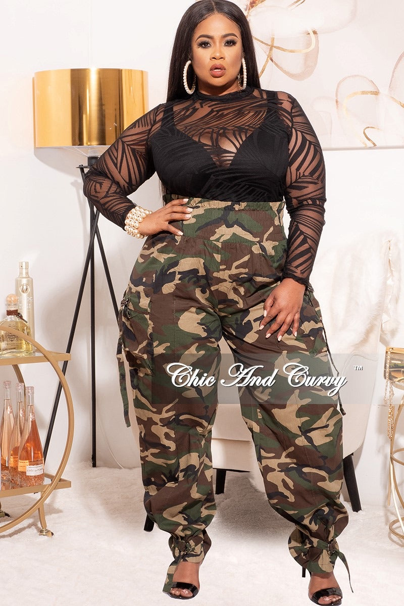Final Sale Plus Size Camo Paperbag Pants with Elastic Waist in Olive Camouflage or Black Camouflage