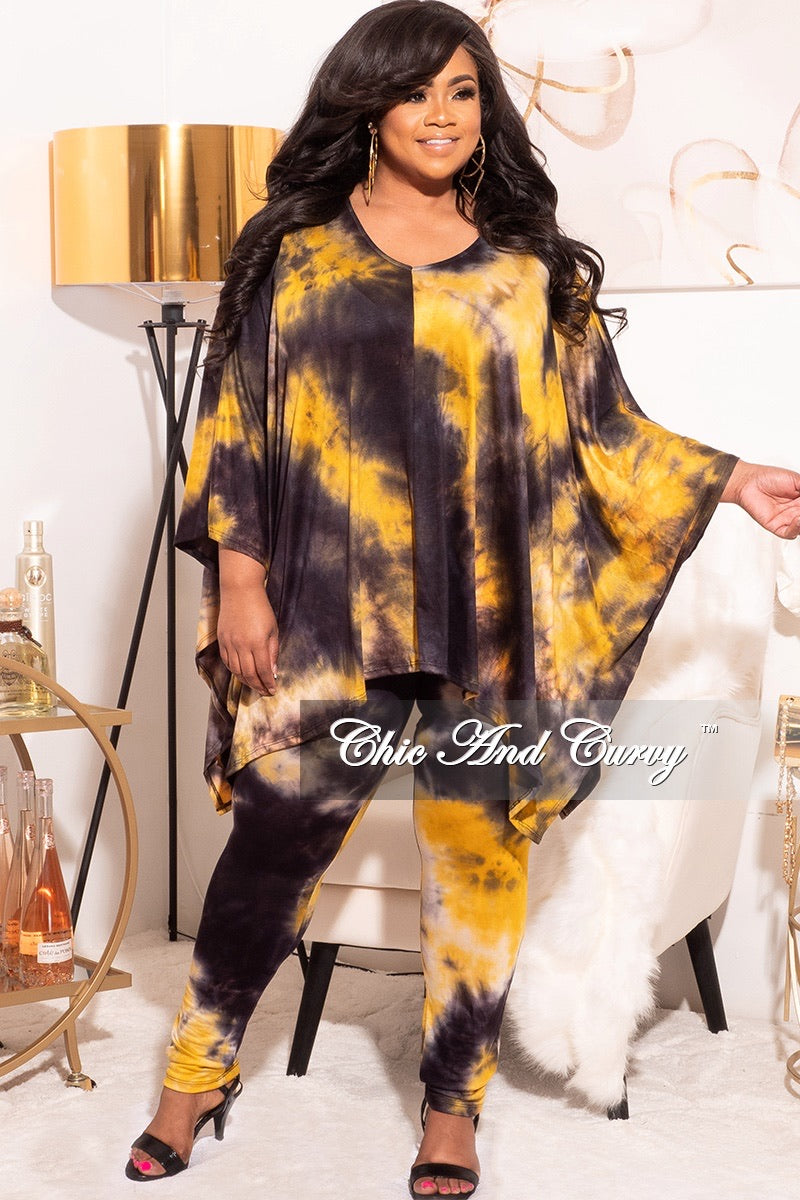 Final Sale Plus Size 2pc Set in Mustard and Black Tie Dye Print