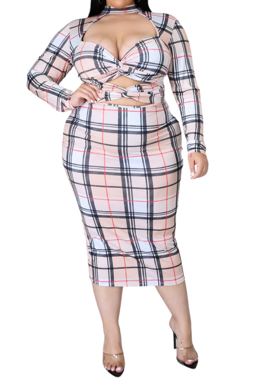 Final Sale Plus Size Bodycon Dress with Twist Detail in Plaid Print