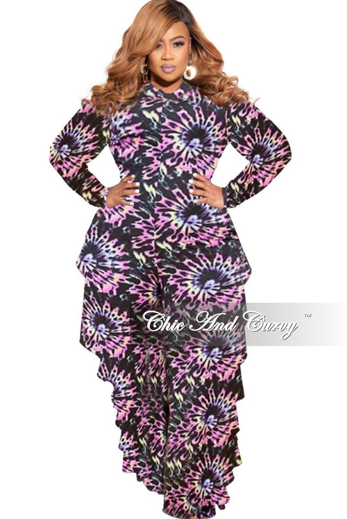 New Plus Size Reversible Side Ruffle Jumpsuit in Rainbow Tie Dye Print