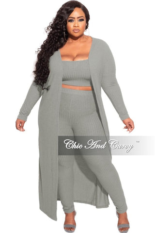 *Final Sale Plus Size Ribbed 2-Piece Set Tube Dress With Duster in Stripes