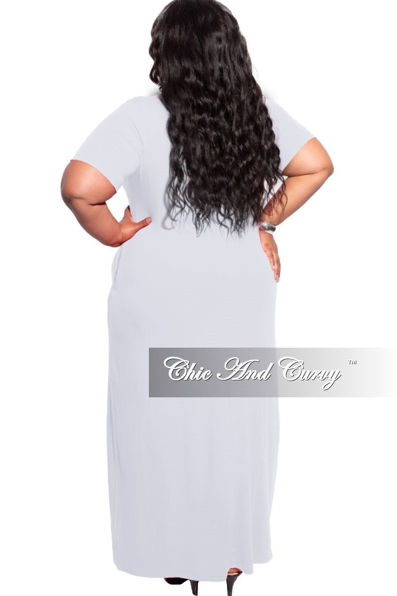 New Plus Size Short Sleeve Pocket Maxi Dress in Heather Grey