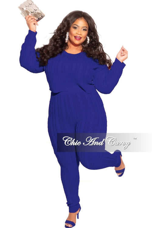 Final Sale Plus Size 2-Piece Sweater Pants Set in Royal Blue