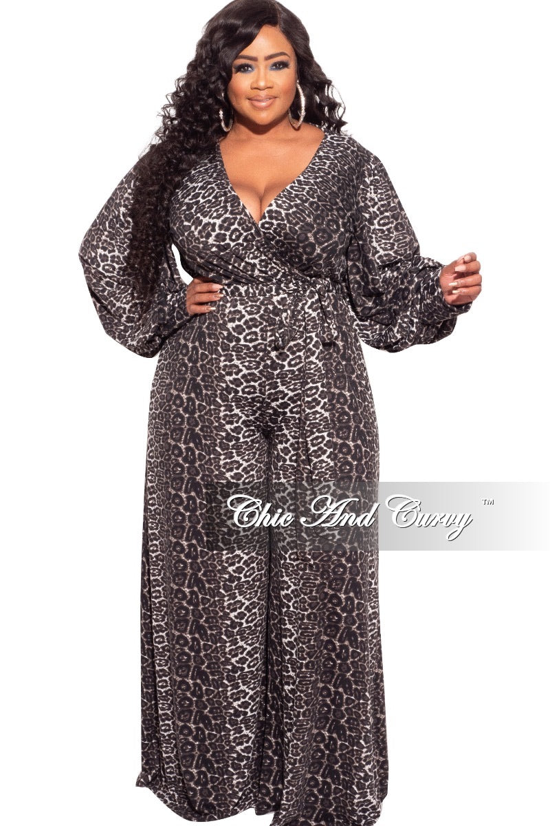 *Final Sale Plus Size Faux Wrap Tie Jumpsuit in Black And White Animal Print