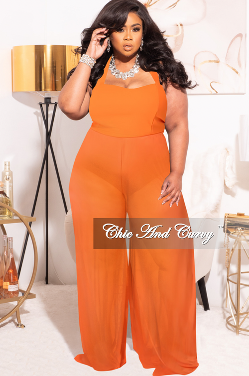*Final Sale Plus Size Mesh Jumpsuit in Orange