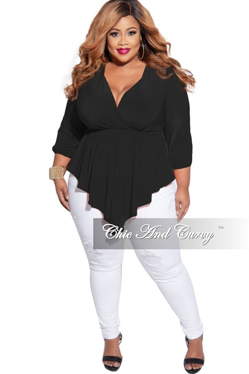 New Plus Size Faux Wrap Asymmetrical Top in Black