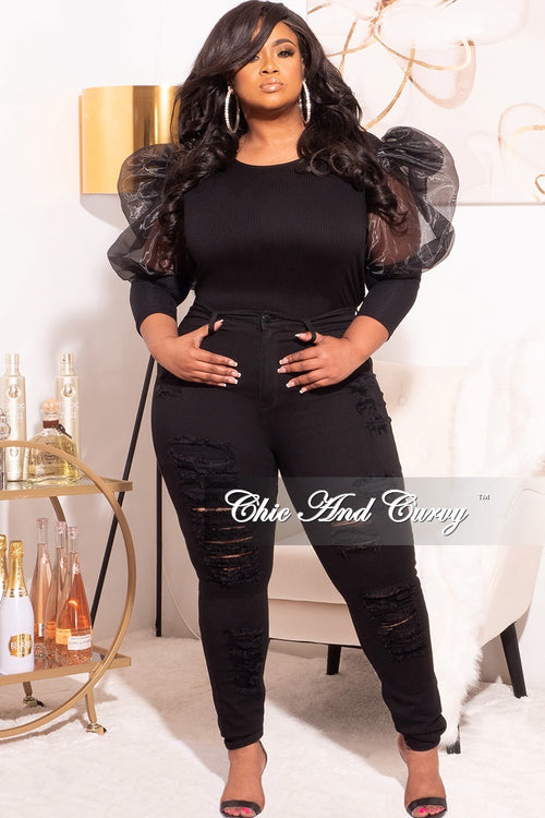 Final Sale Plus Size Ribbed Top with Organza Puffy Sleeves in Black