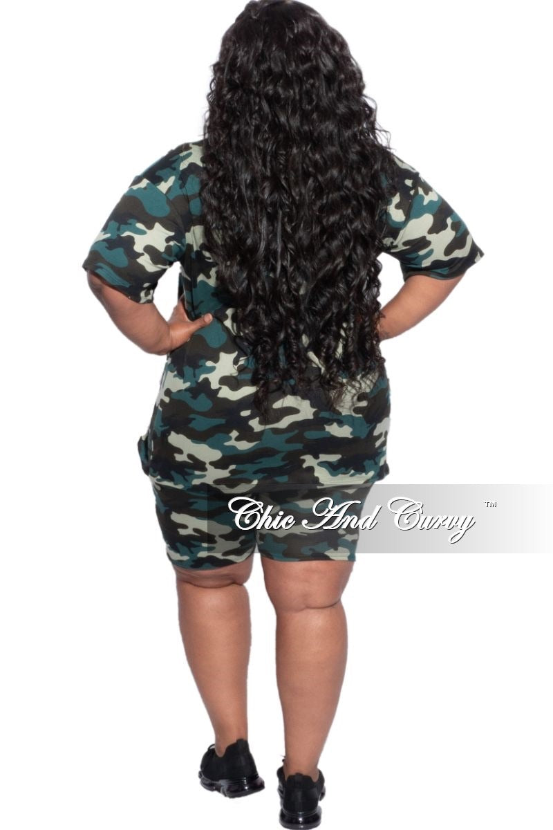 Final Sale Plus Size 2-Piece Shirt & Short Set in Camouflage Print