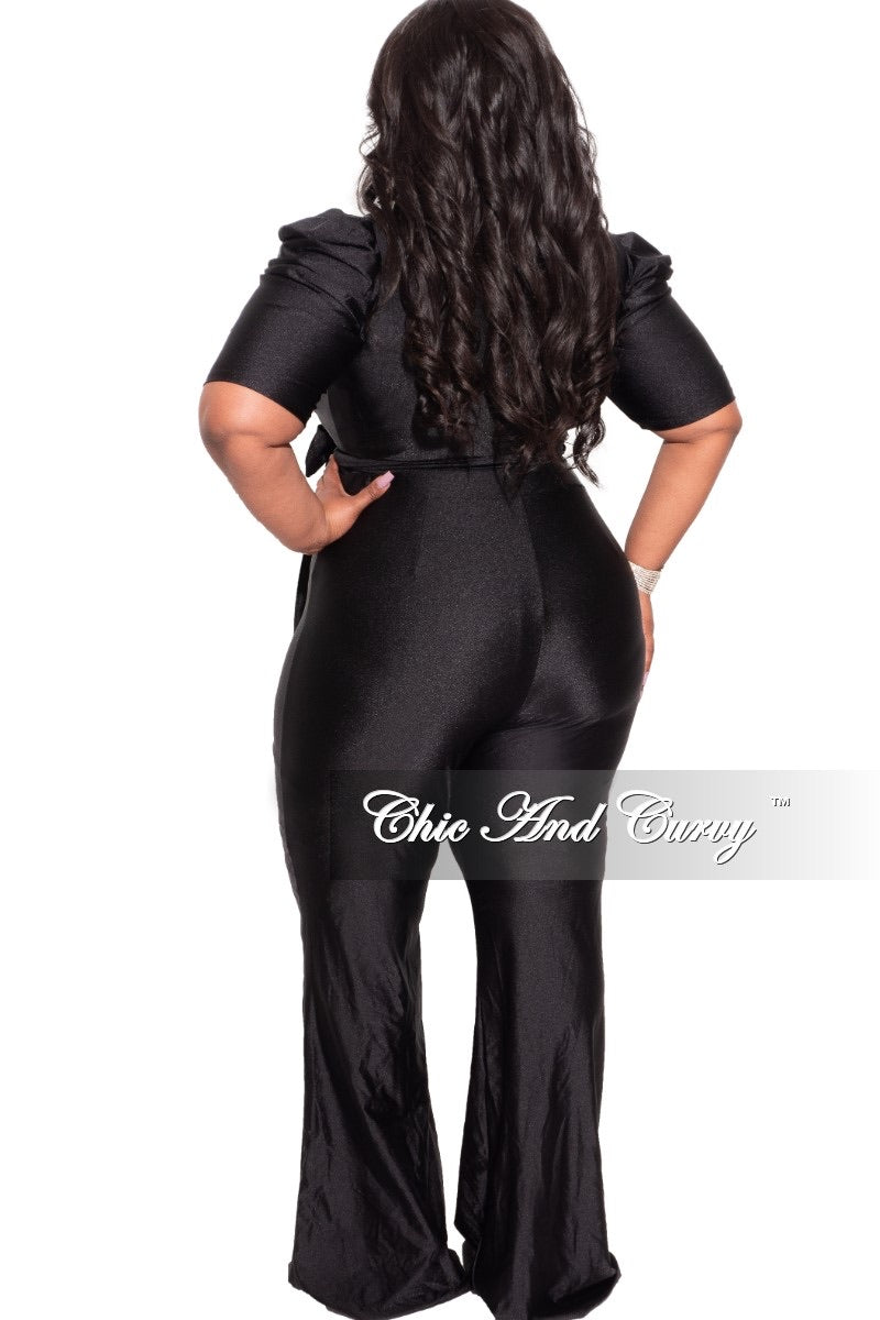 Final Sale Plus Size 2pc Set Wrap Top and Pants in Shiny Black
