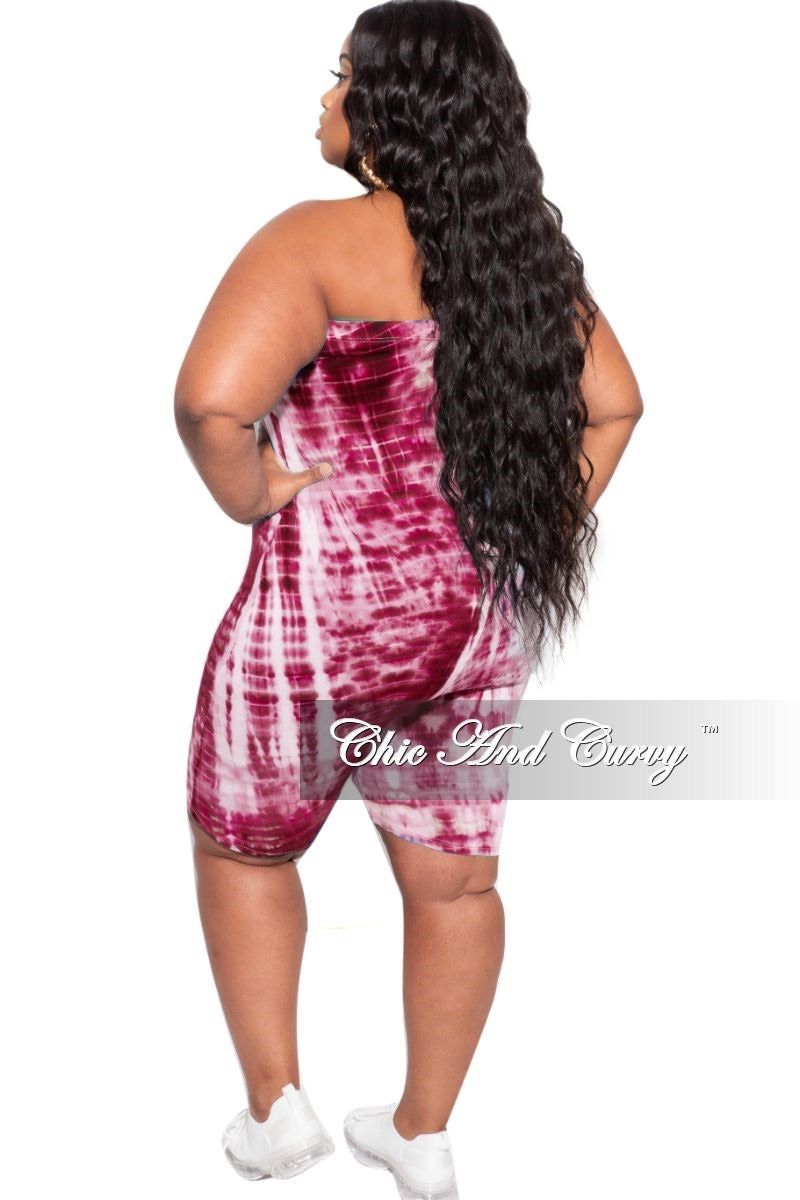 New Plus Size Tube Romper in Burgundy and Ivory Tie Dye Print