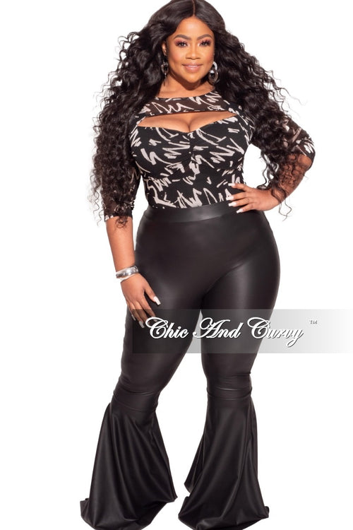*Final Sale Plus Size Mesh Graphic Bodysuit in Black and White Print