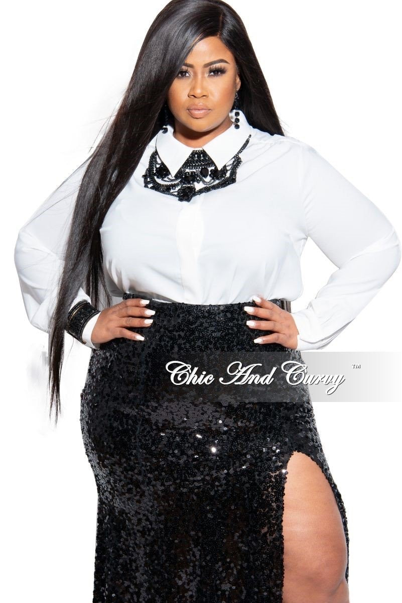 Final Sale Plus Size Collared Button Blouse in White