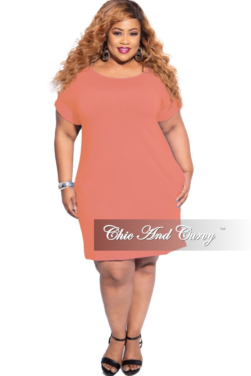 New Plus Size Rolled Sleeve Dress in Coral