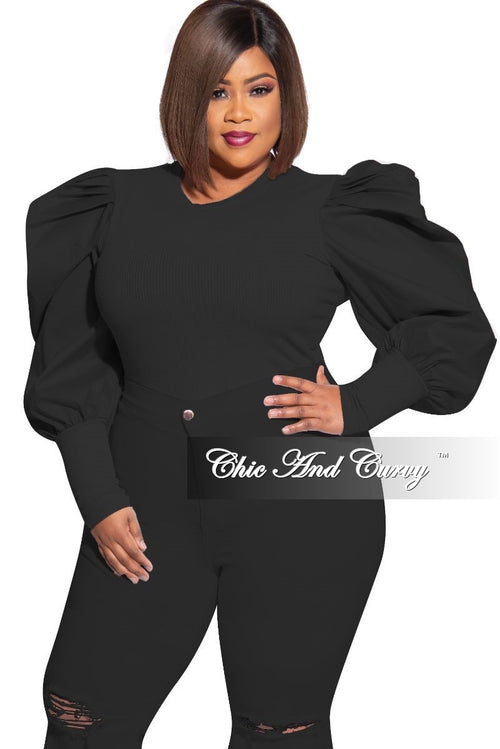 Final Sale Plus Size Ribbed Top with Ruffled Peasant Sleeves in Black