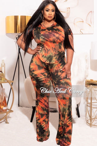 New Plus Size 2-Piece Top and Pants Set in Aqua & Yellow Tie Dye