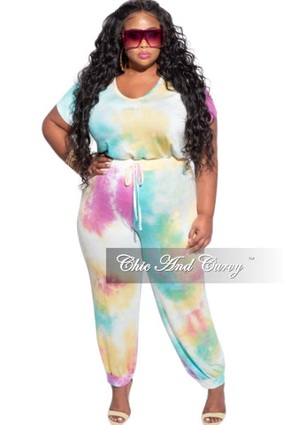 Final Sale Plus Size 3-Piece (Mask, T-Shirt & Bermuda Short) Set in Faux Denim Mixed Print