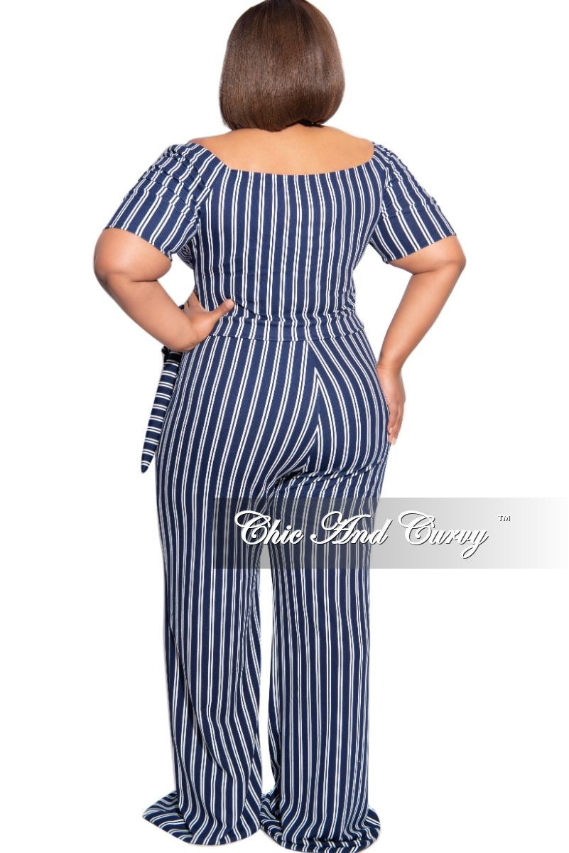 New Plus Size Off The Shoulder Faux Wrap Jumpsuit in Navy and White Stripe