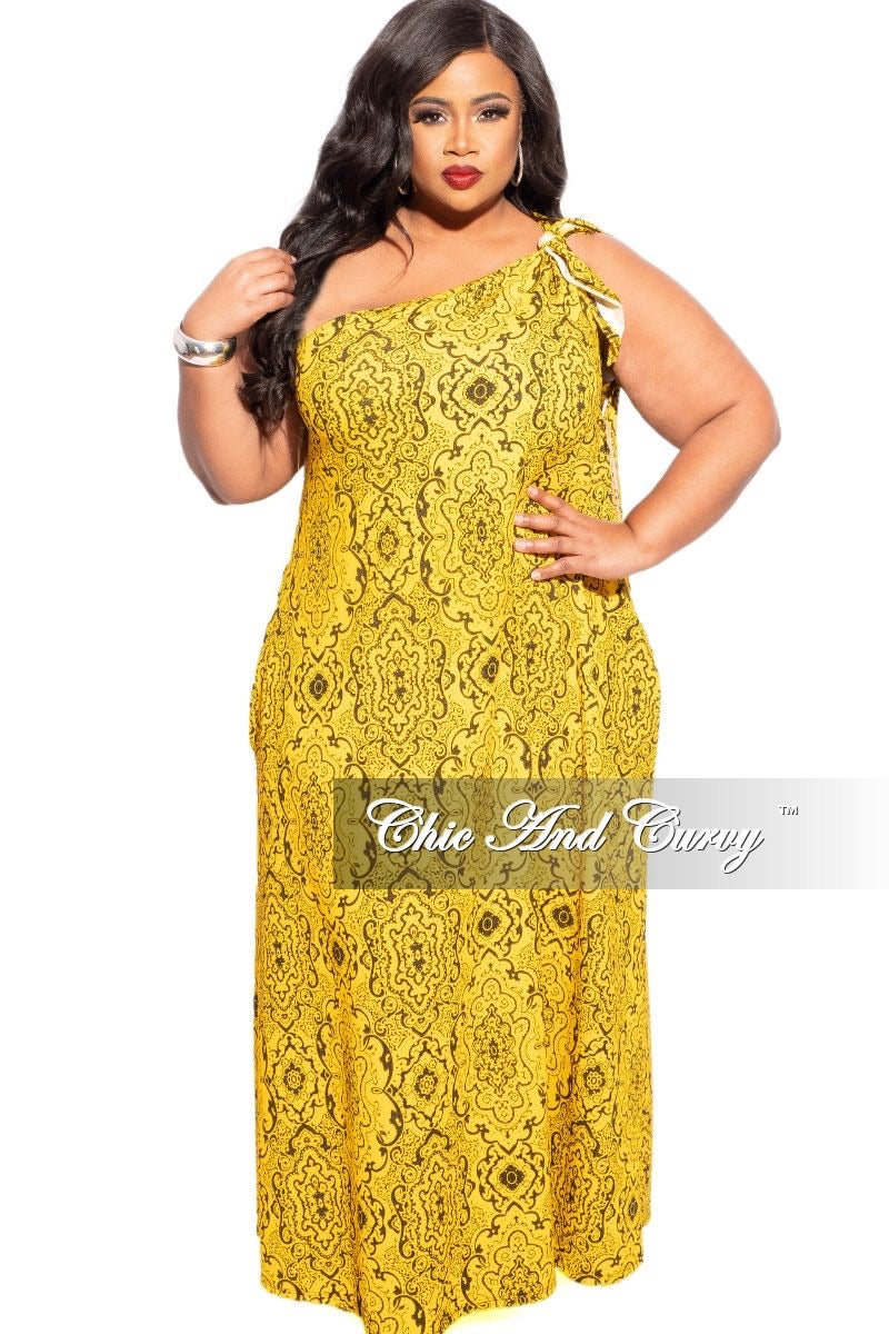 New Plus Size One Shoulder Dress In Black with Mustard Print