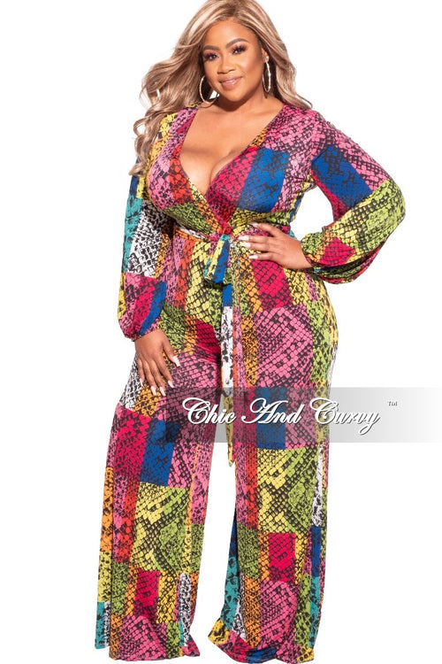 Final Sale Plus Size Long Sleeve Faux Wrap Jumpsuit with Attached Tie and Back Gold Zipper in Multi-Colors Patches