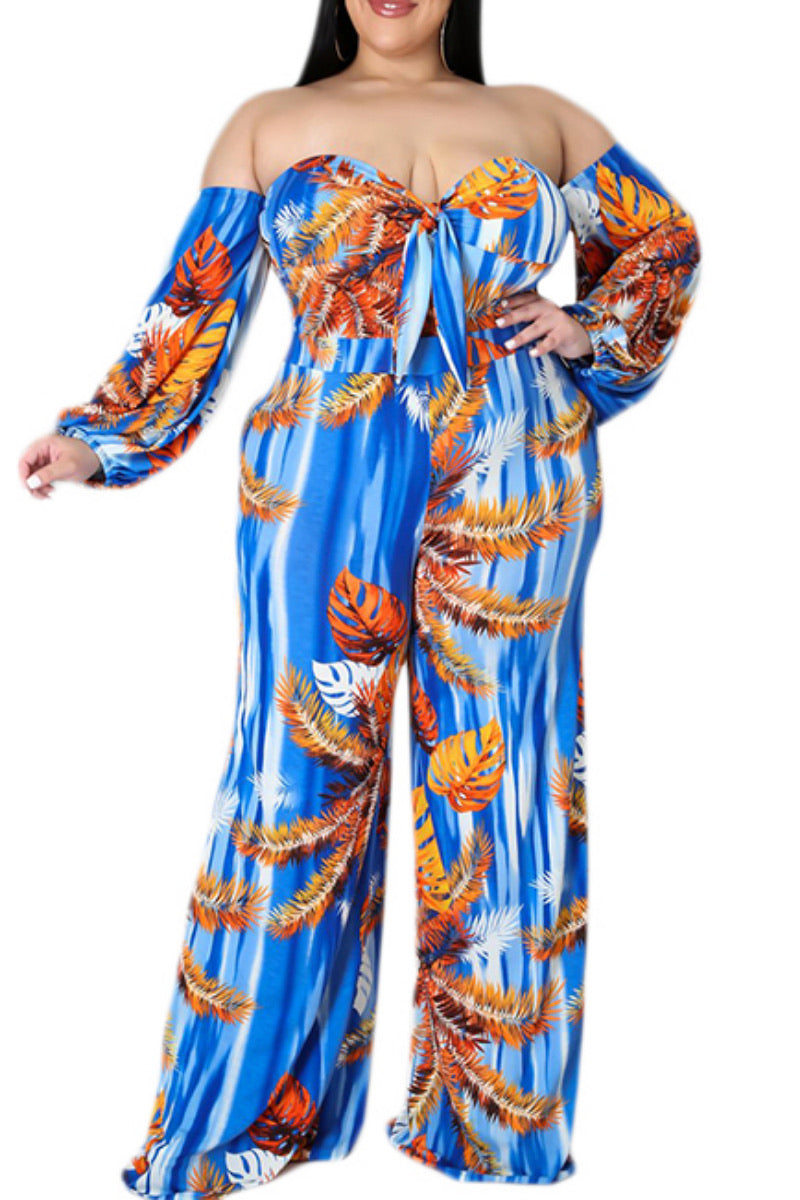 Final Sale Plus Size V-Neck Ruffle Off the Shoulder Jumpsuit with Attached Tie in Blue & Orange Print