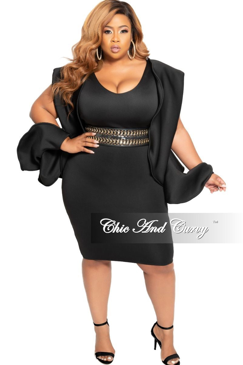 Final Sale Plus Size BodyCon Dress with Slit Puff Sleeves in Black