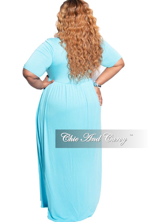 New Plus Size Pocket Maxi Dress in Baby Blue