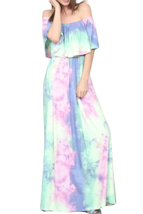 New Plus Size Off The Shoulder Flowy Maxi Dress in Rainbow Cloud Print