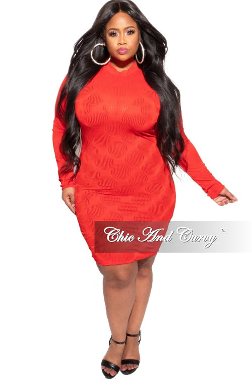 Final Sale Plus Size Sheer Bodycon Dress in Red