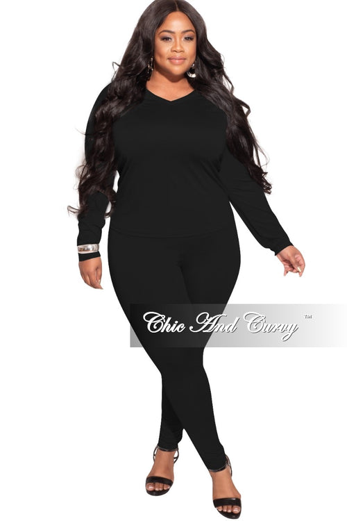 *Final Sale Plus Size 2-Pc  Legging Set in Black