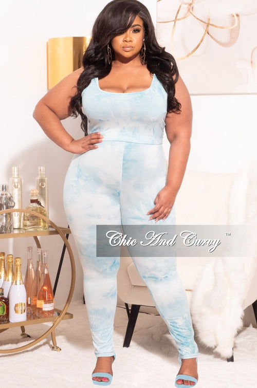 *Final Sale Plus Size 3pc (Duster, Crop Tank Top & Pants) Set in Blue Cloud Print