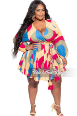 Final Sale Plus Size BabyDoll Dress in Mustard, Purple & Olive Print