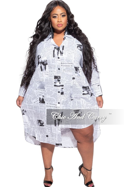 Final Sale Plus Size Oversized Uneven Hem Shirt Dress in Newspaper Print