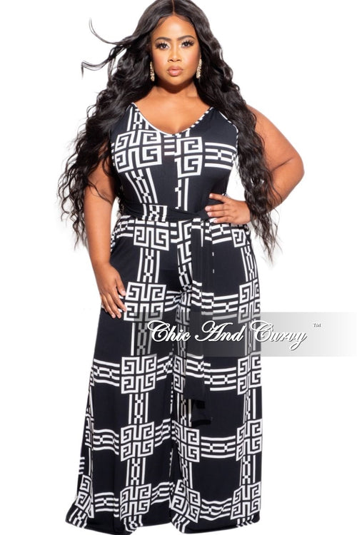 New Plus Size Spaghetti Strap Belted Jumpsuit in Black & White