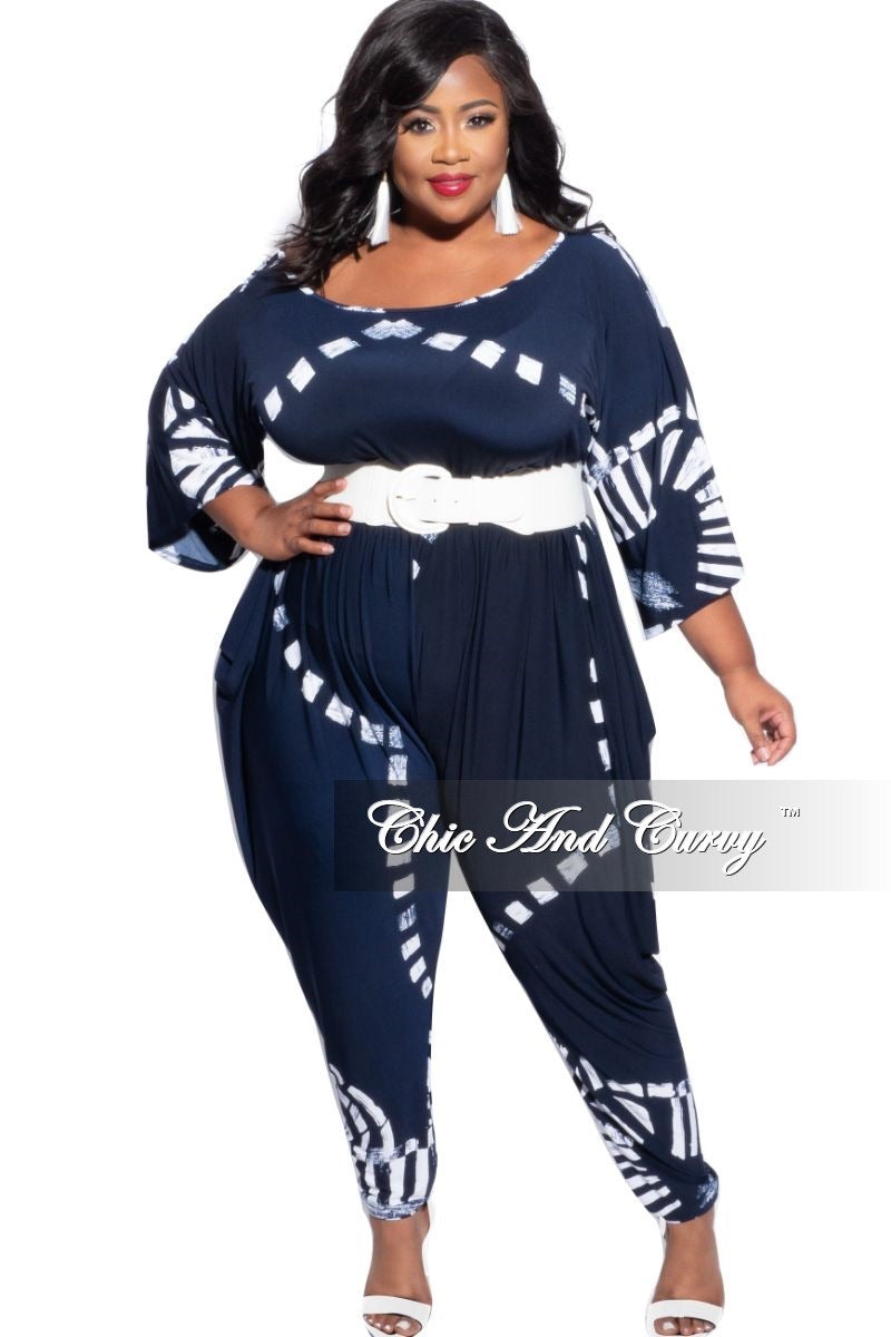 New Plus Size Harem Jumpsuit in Navy & White Design Print