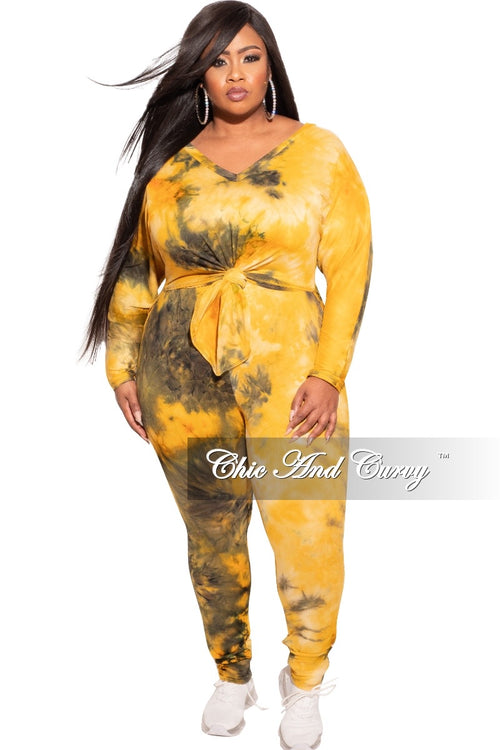 *Final Sale Plus Size 2-pc Pants Set in Mustard / Olive Tie Dye