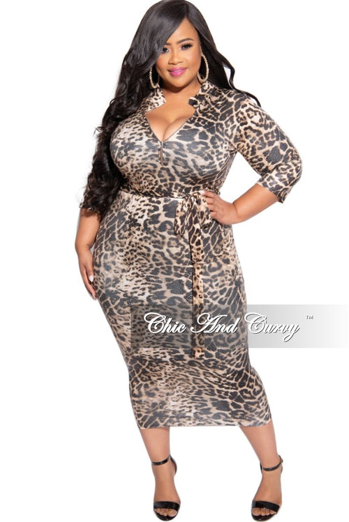 New Plus Size Foiled BodyCon Midi Dress with Tie in Leopard Print