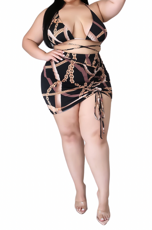 Final Sale Plus Size 4pc Set Poolside Playsuit with Chain Print