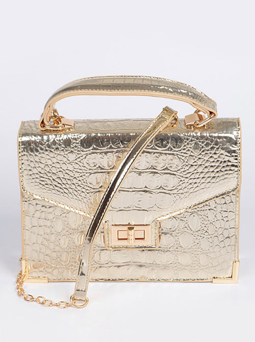 Final Sale Plus Size Patent Leather Purse in Silver or Gold Crocodile