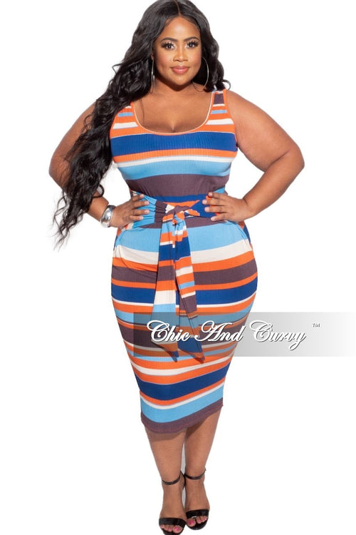 New Plus Size Ribbed Dress with Attached Belt in Multicolor Stripes