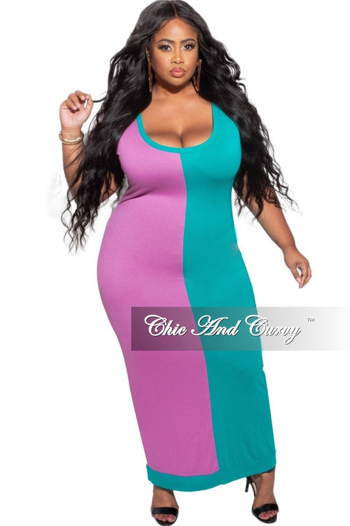 New Plus Size BodyCon Dress Midi Length in Green & Purple