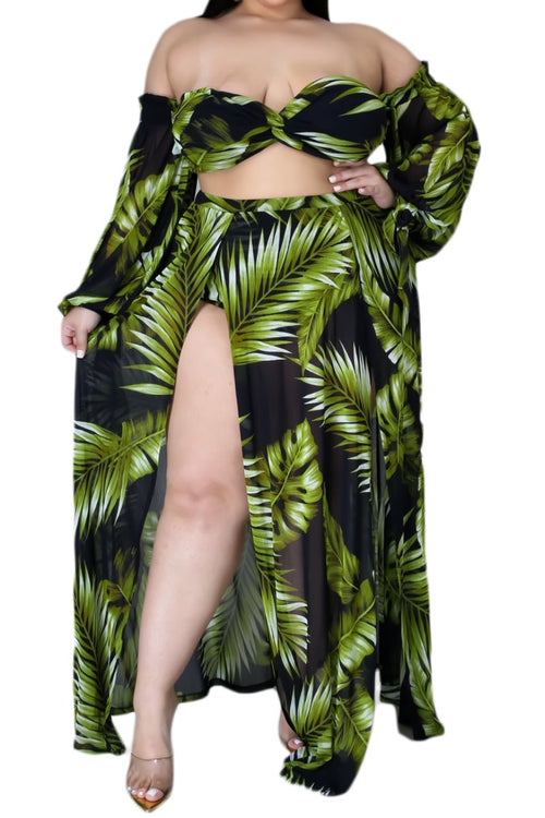 Final Sale Plus Size 3-pc Playsuit in Navy with Olive Tropical Palm Print