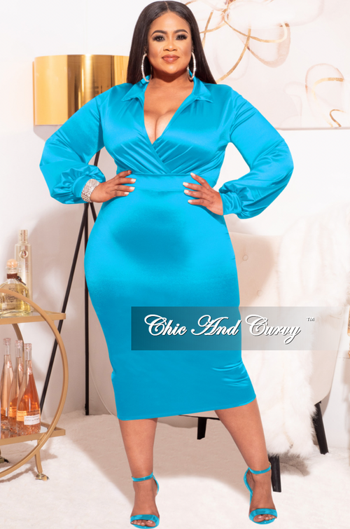 *Final Sale Plus Size 2-piece Set (Bodysuit & Skirt) in Shiny Ocean Blue