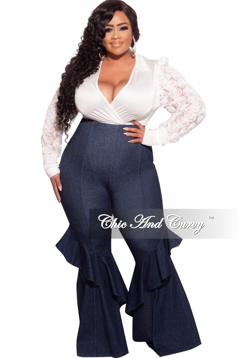 Final Sale Plus Size Floret Sleeves Bodysuit in White