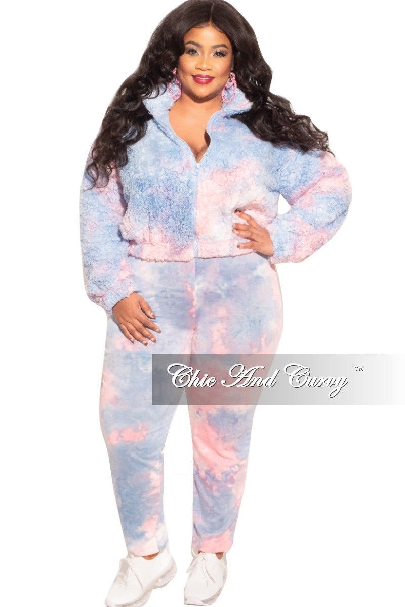 Final Sale Plus Size 2-Piece Set Fleece Jacket & Legging in Blue & Pink